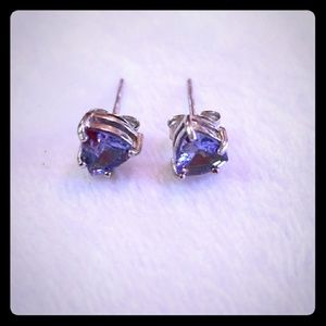 Small Stud Earrings, Tanzanite, Sterling Silver